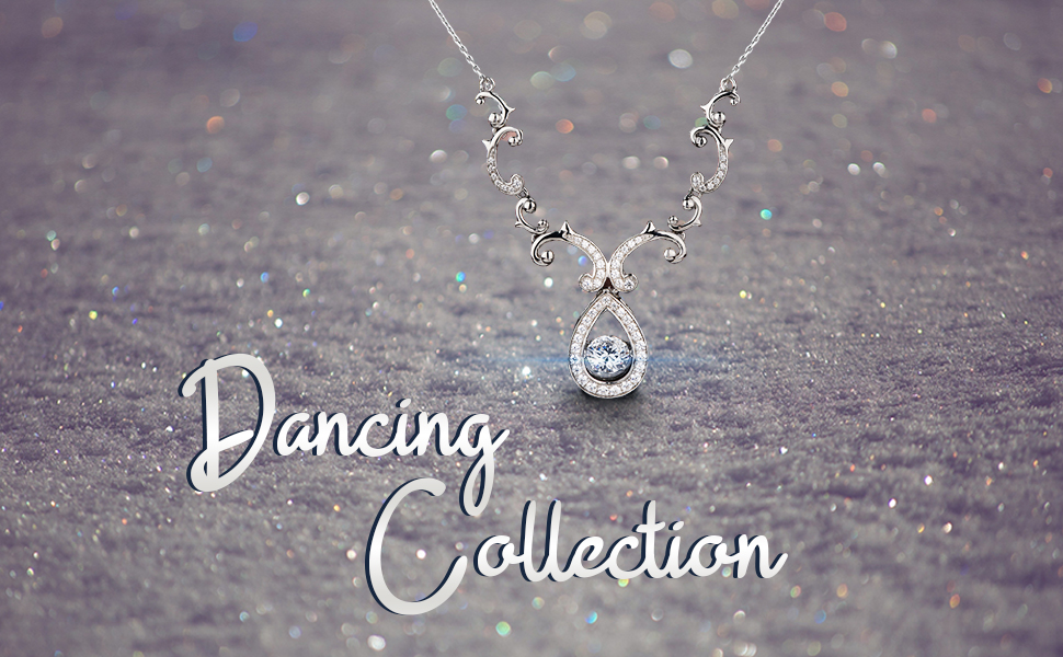 CZ diamond necklaces for women Cubic zirconia pendant with chain necklace sterling silver
