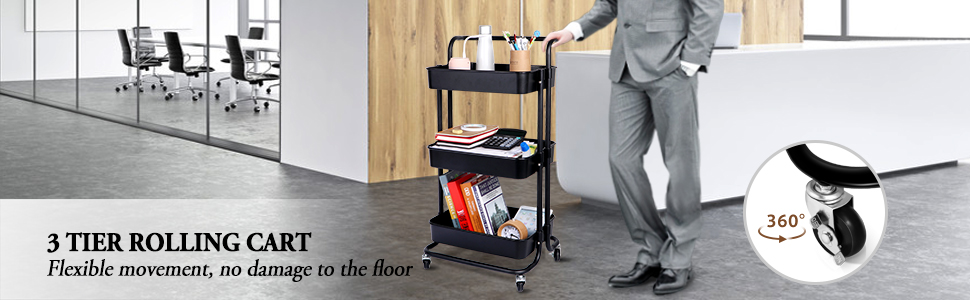 Roller Wheels Storage Cart