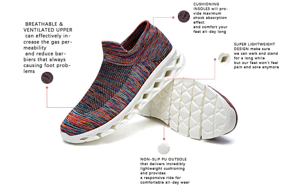 walking shoes slip on shoes sock shoes