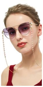 COMVIP Jolie Cha/îne de Lunettes Strass Multicolore Mode Cordon Lunettes de Vue