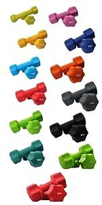 neoprene dumbbells, dumbbells pair pastel, dumbbell weights set pair neoprene rubber coated hex bars