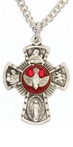 Women's Sterling Silver Four Way Cross Pendant with Red Enamel
