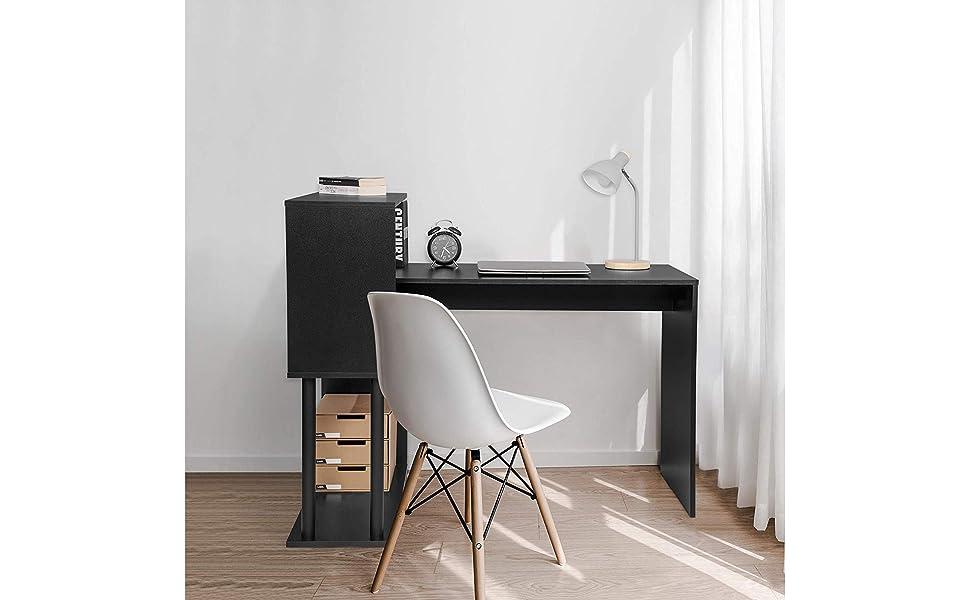 WOLTU TS108sz Table de Bureau Table de Travail PC Table dordinateur avec /étag/ères lat/érales,en MDF et Acier,Noir 120x80x97cm