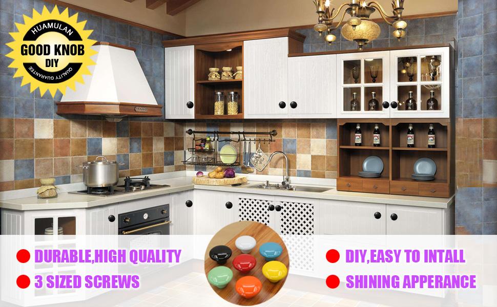 Glossy Ceramic Knobs Round Cabinet Dresser Pulls DIY Door Handles Cupboard Wardrobe Drawer