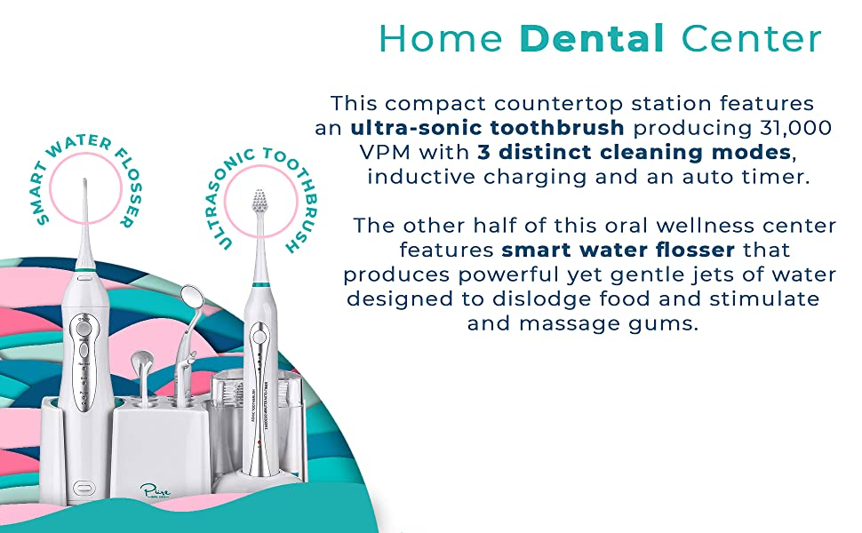 aquasonic home dental center - ultra sonic electric toothbrush, pure daily care home dental center