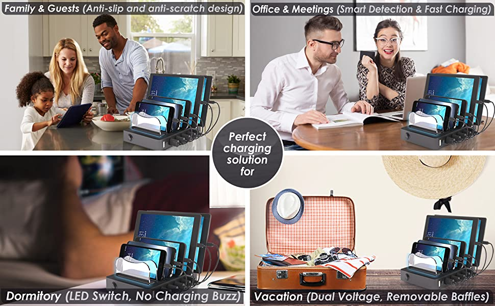 multi IPhone charging stations with cables Apple iPad Charging Stations for multiple devices charger