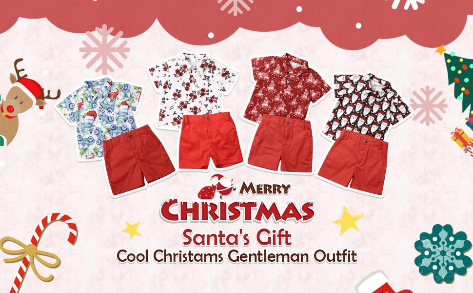 Christmas Toddler Kids Baby Boy Xmas Party Santa Tops T-Shirt Shorts Outfits Set