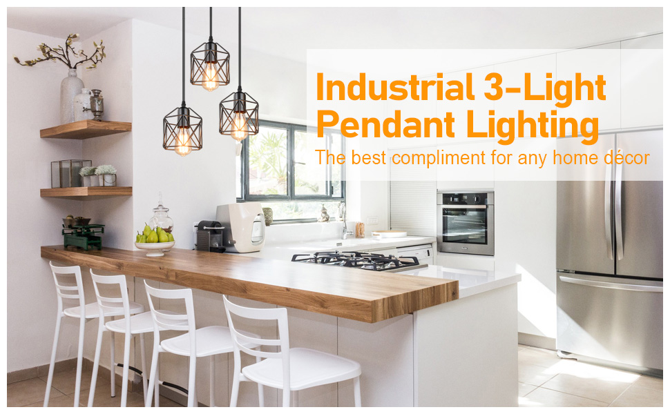 Industrial 3-Light Pendant Light