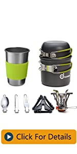Odoland Camping Cookware Stove Carabiner Canister Stand Tripod