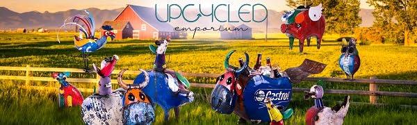 upcycled emporium think outside barnyard sculpture drinks cooler tub garden stake bird pet planter