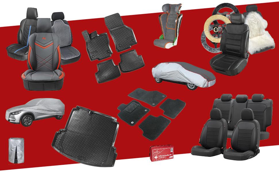 Walser Auto Sitzbezug Medway Mit Reißverschluss Zipp It Deluxe Schonbezüge Auto 2 Vordersitzbezüge Rot 11986 Auto
