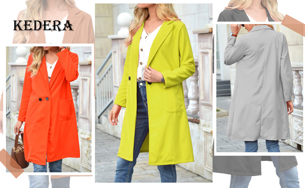 Women's Notched Lapel Double Breasted Cotton Blend Trench Coat Jacket
