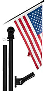 5 Ft Flagpole + 2x3 Ft Brass Grommets Flag (Black)
