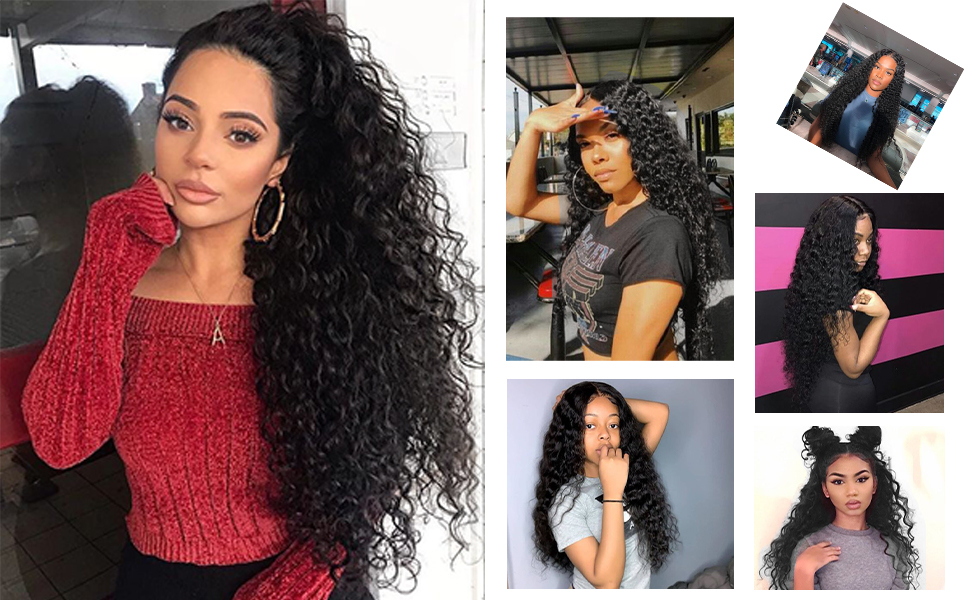 Long Curly Wigs for Women Black Curly Hair 50% Density Heat Resistant Hair