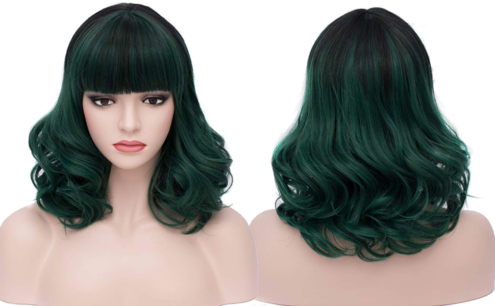 Black Mixed Green BERON 16 Womens Short Curly Wavy Wig with Bangs Synthetic Hair Party Wigs Wig Cap Included