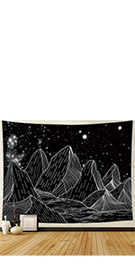 Black Galaxy Mountain Tapestry