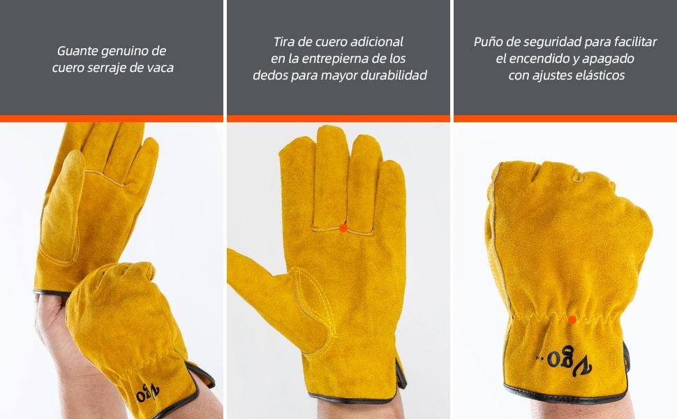 Vgo 3Pares Guantes de Trabajo de Cuero de Ciervo para Hombre Talla 10//XL, Gris y Marr/ón y Azul, DB9705 Pantalla T/áctil