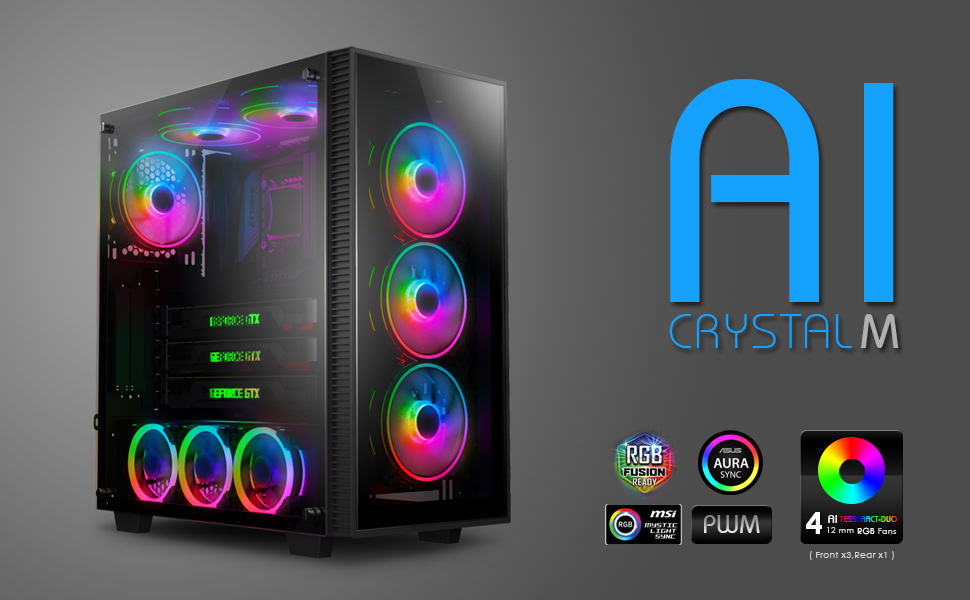 Black AI-CL-XL-AR3 Includes 5 x 120 PWM RGB Fans 2 x RGB LED Strips Case ONLY anidees AI Crystal XL RGB V3 Full Tower Tempered Glass,Steel Construction,Water-Cooling Ready PC Gaming Case