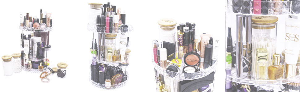 Makeup Organiser with Glass Jars Beauty Set