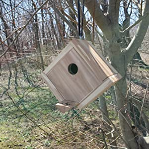 Wakefield Premium Handmade Birdhouses Hanging Cedar House with Easy Open Bottom outside