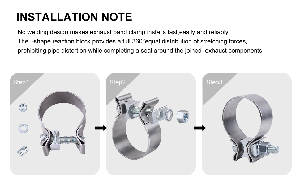 2.5 2 1//2 Stainless Steel Exhaust Band Seal Clamp Muffler Pipes Connect with 1 Block