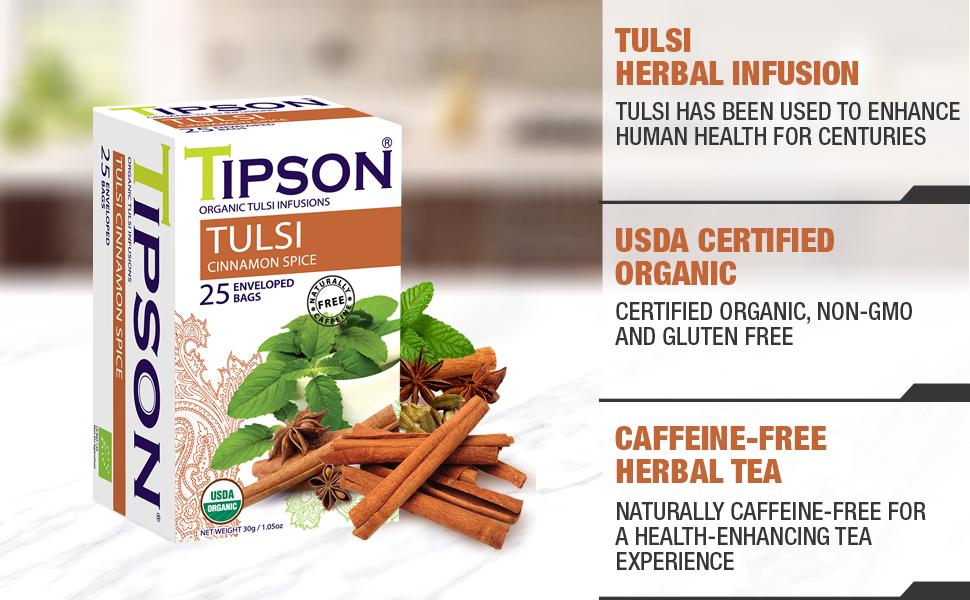 tulsi peppermint herbal tea cinnamon spice caffeine free organic usda