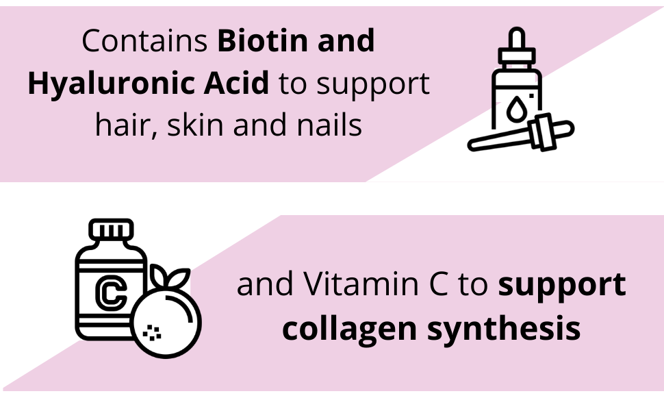 Collagen with biotin, hyaluronic acid and vitamin C