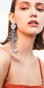 silver tone white gold crystal fish bone shape statement drop dangle earrings
