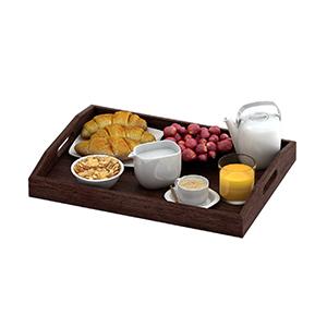 serving tray set ottoman 3 three wood real paulownia handles food breakfast coffee bed eating table