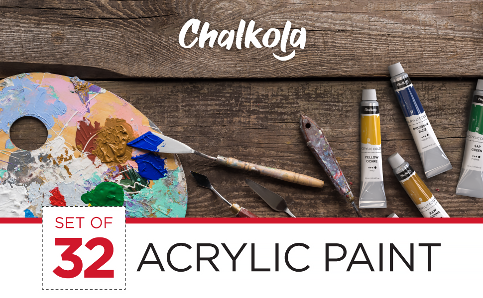 Acrylic Paint Set (32 Colors, 22 ml Tubes, 0.74 oz.) for Canvas, Crafts, Wood Painting