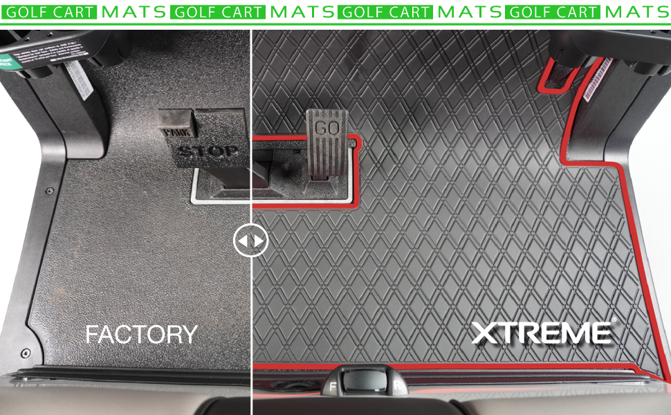 gofl cart flooring half showing factory and half showing xtreme golf cart mat with red trim