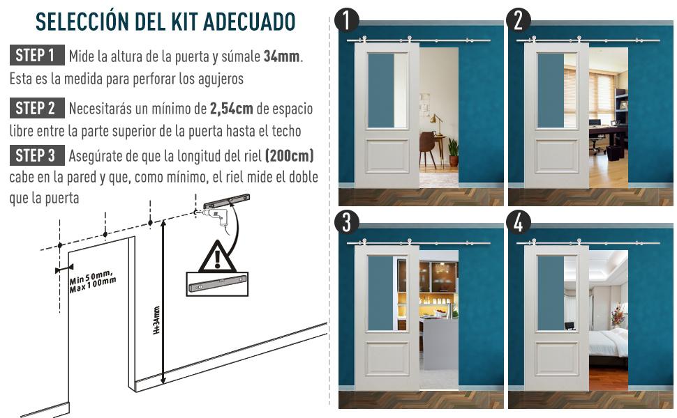 HOMCOM Kit Instalacion Puerta Corredera Madera Puertas Corredizas Riel Acero Inoxidable: Amazon.es: Hogar
