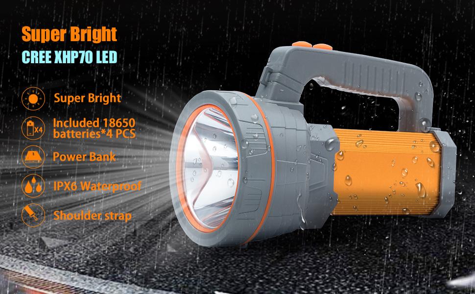 2019 Multi-Featuers High Power High Lumen Outdoor Spotlight Flashlight