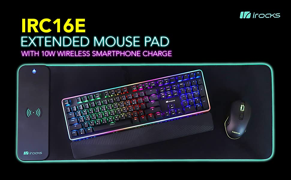 i-rocks C16E extended mouse pad with wireless smartphone charger