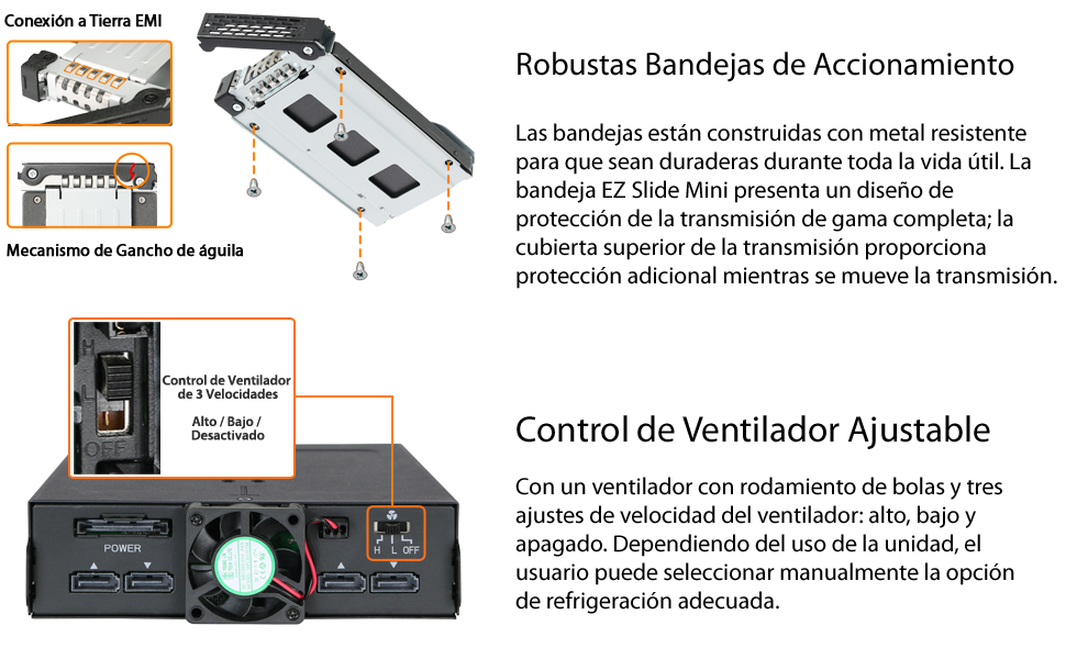 Icy Dock Backplane Robusto para 4 bahías de Disco Duro o SSD SATA ...