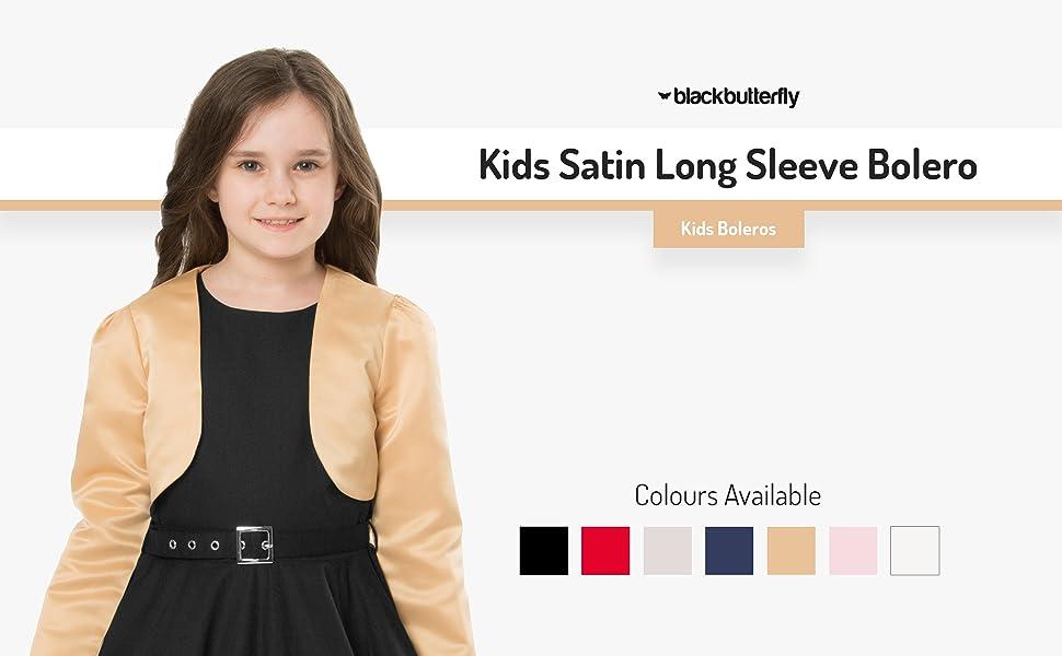 Kids Satin Long Sleeve Bolero