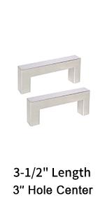 """3"""" brushed nickel square cabinet pulls drawer dresser handles cabinet cupboard handles sliver"""