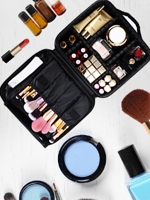 Train Cosmetic Case Organizer with Adjustable Dividers Large Capacity for Cosmetic Makeup Brushes