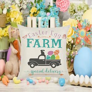 Easter Egg Peeps Linen Cushion Case