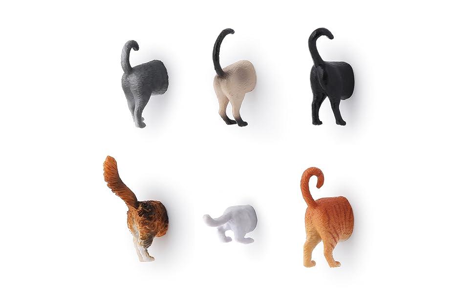 amazon com kikkerland cat butt magnets set of 6 kitchen