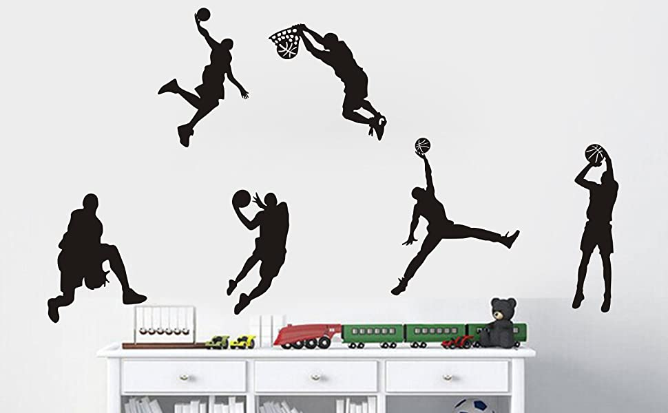 Woodland Arts Black 35.4 w X 15.7 h Vinyl Basketball Four Basketball Players Slam Dunk Silhouette Wall Decals Stickers for Boy Rooms