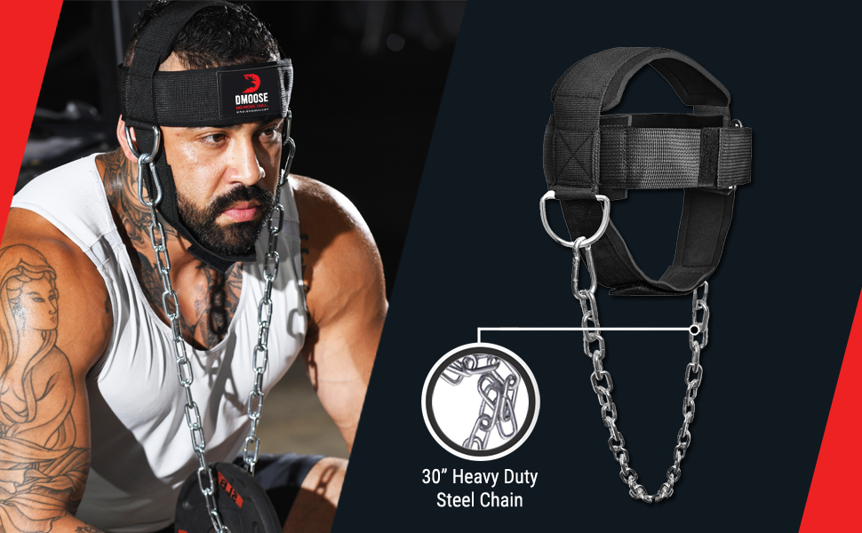 IFOYO Neck Harness for Weight Lifting Resistance Training Built with Heavy Duty D-Rings and Chain to Ensure Stability and Maximum Neck Muscle Strength