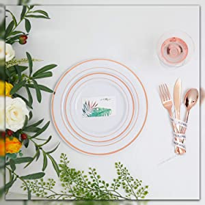 60 Pieces Plastic Rose Gold Plates with Rose Gold Plastic Silverware