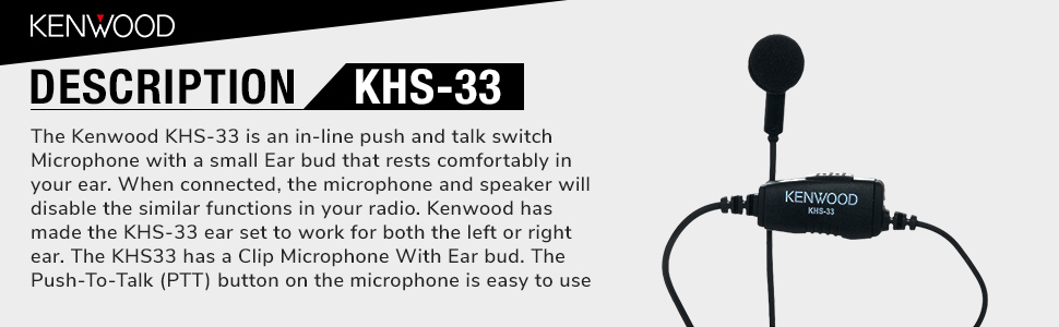 Single Pin Kenwood KHS-33 Clip Microphone with Earphone for PTK-23K ProTalk Lite