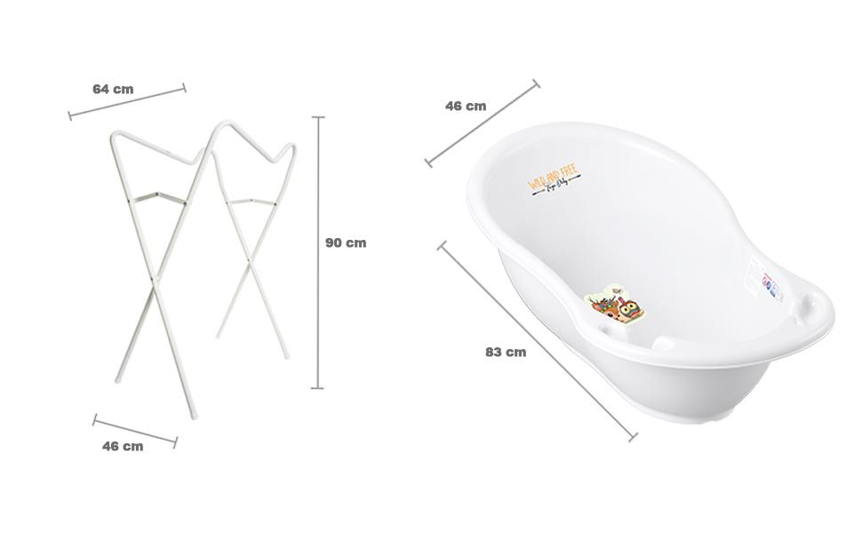 gr/ün St/öpsel zum Wasserablassen Abfluss und Integriertem Thermometer Babybadewanne 0-12 Monate Tega Baby /® ergonomische Badewanne 86cm SET 3-teilig mit faltbarem Gestell Motiv:H/äschen