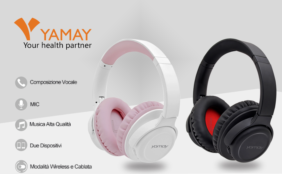 YAMAY Cuffie Bluetooth 5.0 Senza Fili Cuffie Wireless Over Ear con Cavo Audio da 3.5mm Musica Stereo Cancellazione Rumore Due Dispositivi Voice