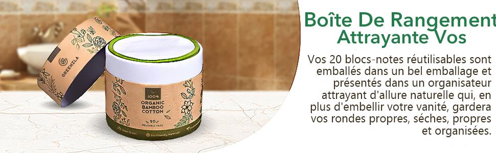 Tampons D/émaquillants R/éutilisables Paquet De 20 Tampons De Maquillage R/éutilisables Lavables En Coton De Bambou Qui Respecte lEnvironnement Pour Le Visage