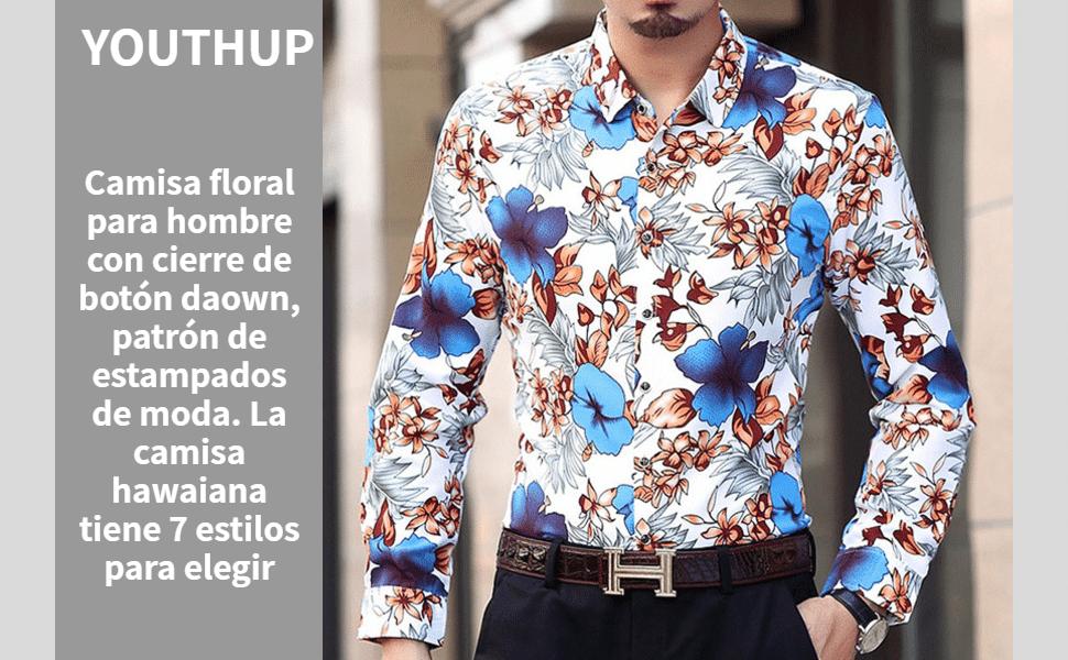 Camisa Floral para Hombre Moda Hawaiian Aloha Camisas de Verano Top Casual de Manga Larga: Amazon.es: Ropa y accesorios