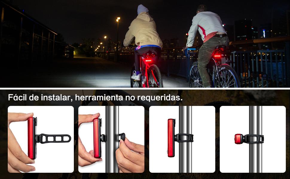 Blanco Cola De La Bicicleta Luz Posterior De La Bici Luz del USB Led Recargable Impermeable Advertencia Luz Trasera De La L/ámpara De Seguridad