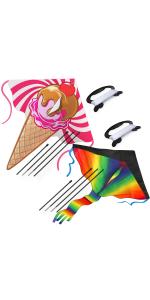 2 large kite easy to fly rainbow and ice cream kite